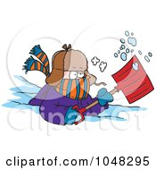 Royalty Free RF Clip Art Illustration Of A Cartoon Snow Shoveler