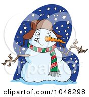 Royalty Free RF Clip Art Illustration Of A Cartoon Welcoming Snowman by toonaday