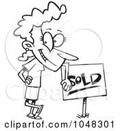 Royalty Free RF Clip Art Illustration Of A Cartoon Black And White Outline Design Of A Woman Leaning On A Sold Sign by toonaday