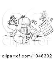 Royalty Free RF Clip Art Illustration Of A Cartoon Black And White Outline Design Of A Snow Shoveler