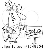 Royalty Free RF Clip Art Illustration Of A Cartoon Black And White Outline Design Of A Guy With A Sold Sign