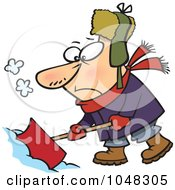 Royalty Free RF Clip Art Illustration Of A Cartoon Grumpy Snow Shoveler