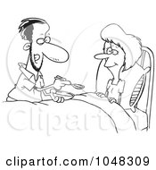 Royalty Free RF Clip Art Illustration Of A Cartoon Black And White Outline Design Of A Man Spoon Feeding His Wife