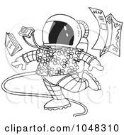Royalty Free RF Clip Art Illustration Of A Cartoon Black And White Outline Design Of A Space Tourist by toonaday
