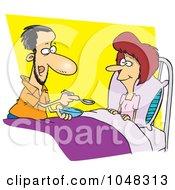 Royalty Free RF Clip Art Illustration Of A Cartoon Man Spoon Feeding His Wife