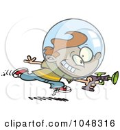 Royalty Free RF Clip Art Illustration Of A Cartoon Space Boy Using A Ray Gun