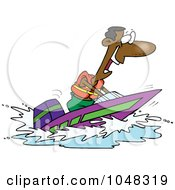 Royalty Free RF Clip Art Illustration Of A Cartoon Black Man On A Speed Boat by toonaday