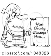 Royalty Free RF Clip Art Illustration Of A Cartoon Black And White Outline Design Of A Spooky Frankenstein Sign