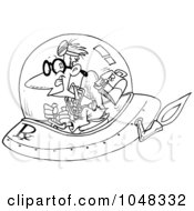 Royalty Free RF Clip Art Illustration Of A Cartoon Black And White Outline Design Of A Space Doctor by toonaday
