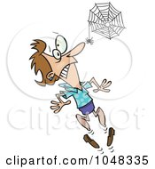 Royalty Free RF Clip Art Illustration Of A Cartoon Spider Scaring A Woman