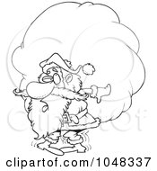 Royalty Free RF Clip Art Illustration Of A Cartoon Black And White Outline Design Of Santa Carrying A Heavy Sack