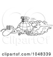 Royalty Free RF Clip Art Illustration Of A Cartoon Black And White Outline Design Of A Turbo Tortoise by toonaday