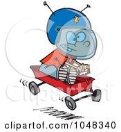Royalty Free RF Clip Art Illustration Of A Cartoon Boy Pretending To Ride A Space Wagon