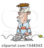 Royalty Free RF Clip Art Illustration Of A Cartoon Sore Tennis Loser by toonaday