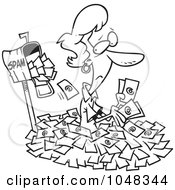 Royalty Free RF Clip Art Illustration Of A Cartoon Black And White Outline Design Of A Woman In Spam Mail By A Mailbox