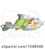 Royalty Free RF Clip Art Illustration Of A Cartoon Turbo Tortoise