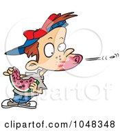 Cartoon Boy Spitting A Watermelon Seed