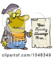 Royalty Free RF Clip Art Illustration Of A Cartoon Spooky Frankenstein Sign by toonaday