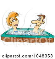 Royalty Free RF Clip Art Illustration Of A Cartoon Couple In A Hot Tub