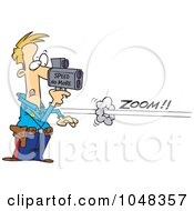 Royalty Free RF Clip Art Illustration Of A Cartoon Cop Using A Speed Gun On A Speeder by toonaday