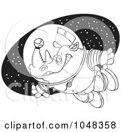 Royalty Free RF Clip Art Illustration Of A Cartoon Black And White Outline Design Of A Rhino Astronaut With A Tennis Ball by toonaday