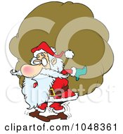 Royalty Free RF Clip Art Illustration Of A Cartoon Santa Carrying A Heavy Sack