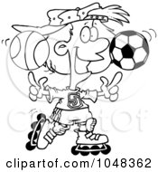 Royalty Free RF Clip Art Illustration Of A Cartoon Black And White Outline Design Of A Sporty Girl Roller Blading With A Basketball And Soccer Ball by toonaday