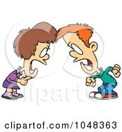 Royalty Free RF Clip Art Illustration Of A Cartoon Boy And Girl Having A Yelling Match