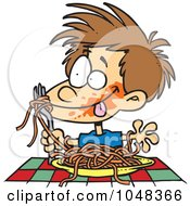 Cartoon Messy Boy Chowing Down On Spaghetti