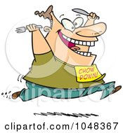 Royalty Free RF Clip Art Illustration Of A Cartoon Man Running For Food
