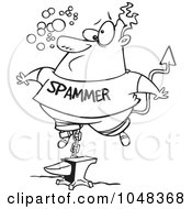 Royalty Free RF Clip Art Illustration Of A Cartoon Black And White Outline Design Of A Sinking Spammer by toonaday