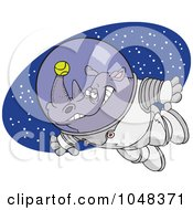 Royalty Free RF Clip Art Illustration Of A Cartoon Rhino Astronaut With A Tennis Ball by toonaday