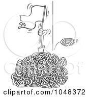 Royalty Free RF Clip Art Illustration Of A Cartoon Black And White Outline Design Of A Man Waving A White Flat In A Pile Of Spam Email by toonaday