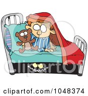 Royalty Free RF Clip Art Illustration Of A Cartoon Monster Scaring A Boy Under A Bed