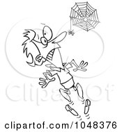 Royalty Free RF Clip Art Illustration Of A Cartoon Black And White Outline Design Of A Spider Scaring A Woman