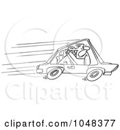 Royalty Free RF Clip Art Illustration Of A Cartoon Black And White Outline Design Of A Speeding Driver by toonaday