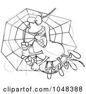 Royalty Free RF Clip Art Illustration Of A Cartoon Black And White Outline Design Of A Spider Swinging On Silk