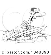 Royalty Free RF Clip Art Illustration Of A Cartoon Black And White Outline Design Of A Black Man On A Speed Boat