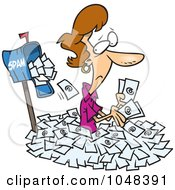Royalty Free RF Clip Art Illustration Of A Cartoon Woman In Spam Mail By A Mailbox by toonaday