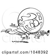 Royalty Free RF Clip Art Illustration Of A Cartoon Black And White Outline Design Of A Space Boy Using A Ray Gun by toonaday