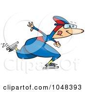 Royalty Free RF Clip Art Illustration Of A Cartoon Speed Skater