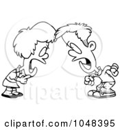 Royalty Free RF Clip Art Illustration Of A Cartoon Black And White Outline Design Of A Boy And Girl Having A Yelling Match