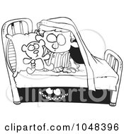 Royalty Free RF Clip Art Illustration Of A Cartoon Black And White Outline Design Of A Monster Scaring A Boy Under A Bed