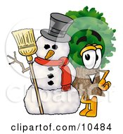 Tree Mascot Cartoon Character With A Snowman On Christmas