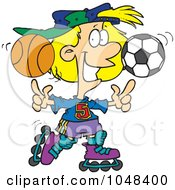 Royalty Free RF Clip Art Illustration Of A Cartoon Sporty Girl Roller Blading With A Basketball And Soccer Ball by toonaday