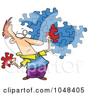 Royalty Free RF Clip Art Illustration Of A Cartoon Guy Trying To Assemble A Puzzle by toonaday