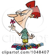 Royalty Free RF Clip Art Illustration Of A Cartoon Woman Smelling Spring Flowers