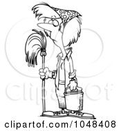 Cartoon Black And White Outline Design Of A Woman Mopping While Spring Cleaning