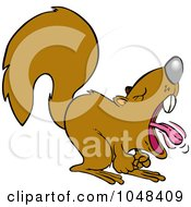 Royalty Free RF Clip Art Illustration Of A Cartoon Screaming Squirrel by toonaday