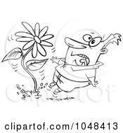 Royalty Free RF Clip Art Illustration Of A Cartoon Black And White Outline Design Of A Man Screaming At A Giant Daisy Springing Up